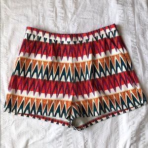 Gianni Bini Shorts High Waist Cream Green Red M